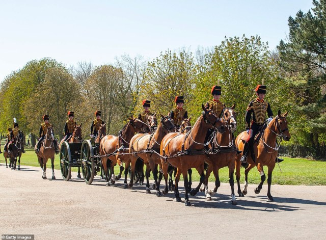 The King's Troop Royal Horse Artillery arrive at Windsor Castle in preparation for the Gun Salute on the palace grounds