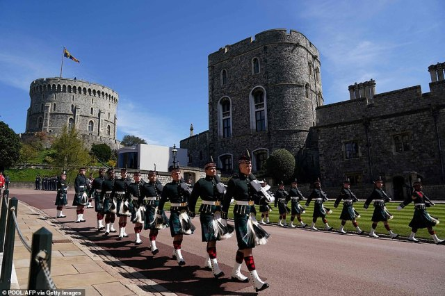 Members of the military march before the funeral service of Britain's Prince Philip.Philip, who was married to Queen Elizabeth II for 73 years, died on April 9 aged 99