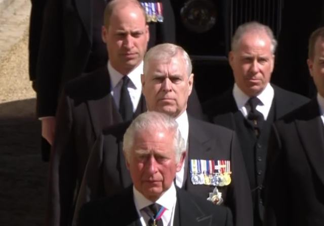 But the Duke of York, who served in the Navy and fought in the Falklands War, did have his military medals pinned to his chest like the other members of the procession