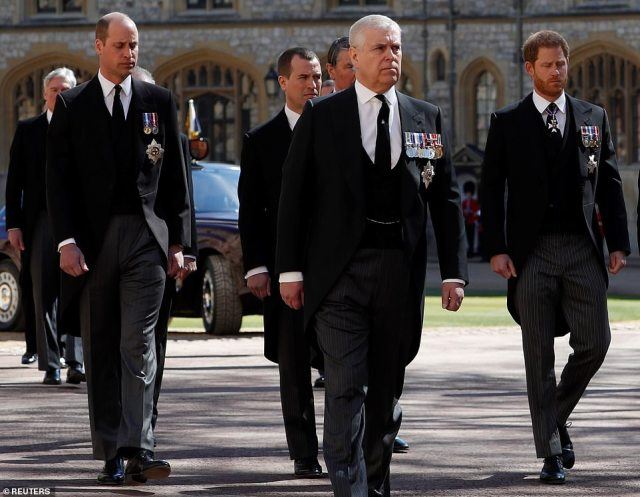 Prince William (left) and Prince Harry (right) walk either side of Peter Phillips and behind Prince Andrew at Windsor today