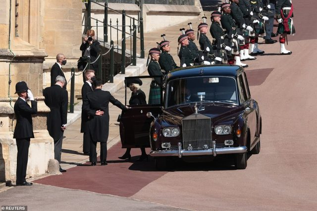 Camilla, Duchess of Cornwall arrives at St George's Chapel on the grounds of Windsor Castle on the day of the funeral of Prince Philip