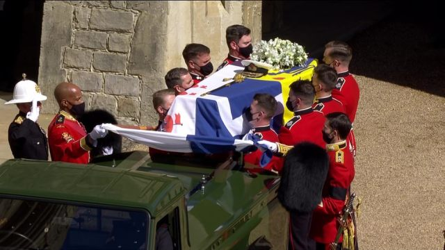 The coffin, transported from the castle to the chapel in a specially-modified Land Rover Philip helped to design, will be flanked by pallbearers drawn from the duke's special relationships - the Royal Marines, regiments, corps and air stations