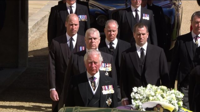 Prince Charles, Prince Andrew and Prince William led the procession of royals walking behind Prince Philip's coffin