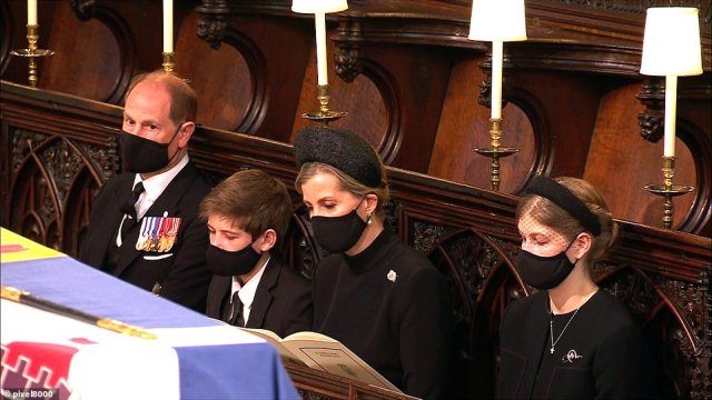 Prince Edward and his family near the coffin of his father Prince Philip at the Duke of Edinburgh's funeral service in St George's Chapel