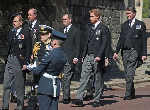 (Left to right) The Earl of Wessex, Prince William, Peter Phillips, Prince Harry and Vice Admiral Sir Timothy Laurence today