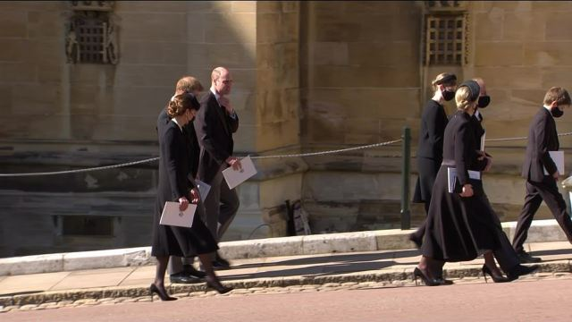 Prince Harry and Prince William were joined by Kate Middleton as they left the church following the funeral service