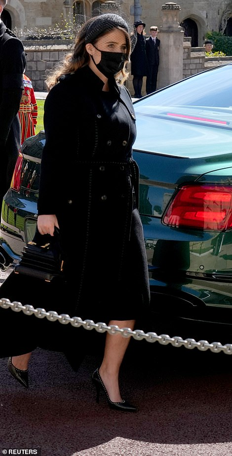 Princess Eugenie , who is the daughter of Prince Andrew and Sarah, Duchess of York, wore her brunette tresses in a natural wave across her shoulders and donned a black coat dress for the funeral