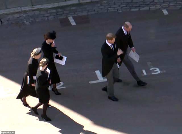 The brothers then moved ahead of a group including Kate and Sophie Wessex as experts said they hoped the brothers would rebuilt their relationship