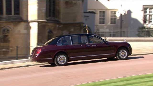 The Queen left St George's Chapel in a car after husband Prince Phillip's poignant funeral service ended this afternoon