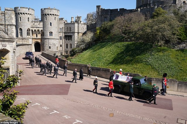 Princess Anne, Prince Charles, Prince Andrew, Prince Edward, Prince William, Peter Phillips, Prince Harry, Earl of Snowdon David Armstrong-Jones and Vice-Admiral Sir Timothy Laurence follow Prince Philip, Duke of Edinburgh's coffin