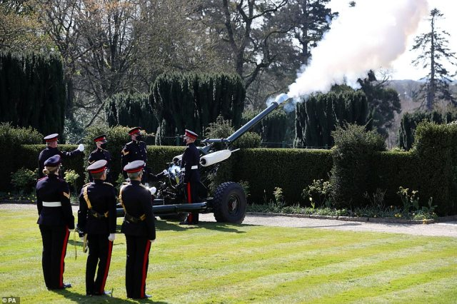 Personnel from 206 (Ulster) Battery Royal Artillery conduct a gun salute at Hillsborough Castle, Co Down, to mark the National Minute's Silence
