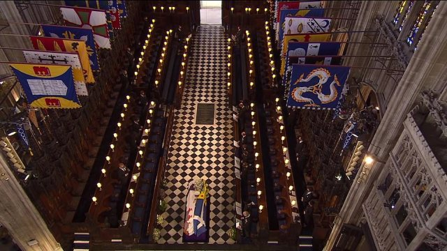 The view of the coffin from the very top of the church during the emotional state occasion