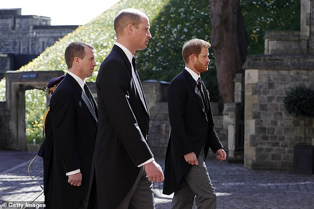 The funeral saw his nephews Prince Harry and Prince William (pictured during the ceremonial procession) reunite for the first time since Harry's bombshell interview with Oprah