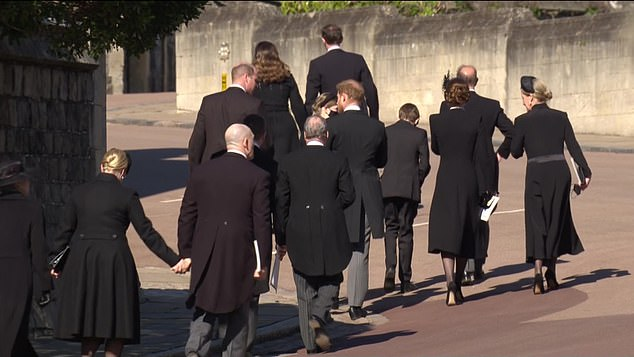 Judi suggested a 'moment of connection' happened between Prince William and Prince Harry (pictured together centre) at the end of the service, as they left the chapel