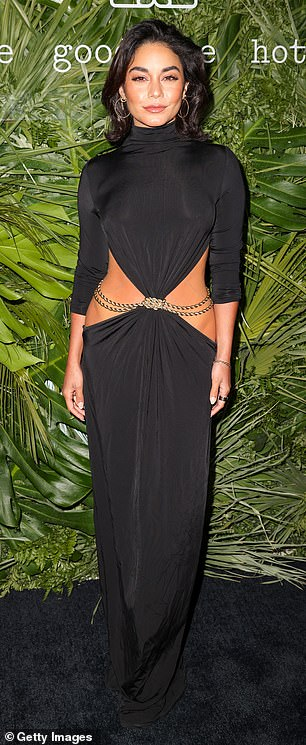Eye-catching outfit: Vanessa Hudgens, 32, wore a black dress that featured a large part in its middle part