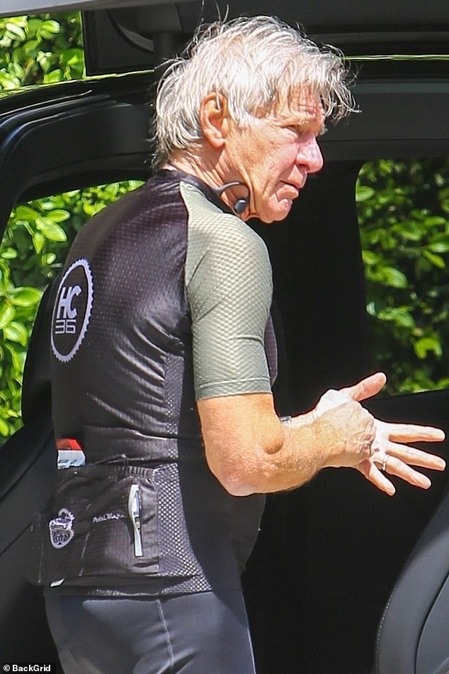 Avid cyclist: The star sported a skintight dry fit t-shirt for the outing, showing off his still sculpted pecks and buff arms.The avid cyclist's signature grey locks were dripping in sweat when he got back from the journey