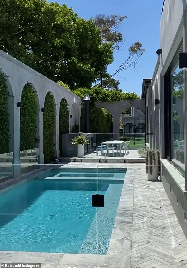 Luxury:Meanwhile, Bec Judd and her husband, Chris Judd, transformed their Spanish colonial-style Melbourne mansion in Brighton (pictured) after buying it for $7.3million in March 2018