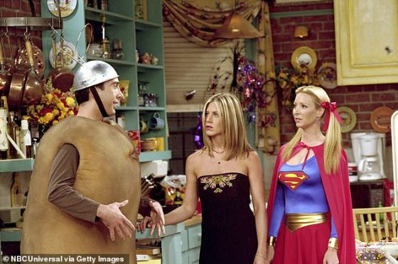 Classic: Ross (David Schwimmer) wore a costume to a party in the eighth season;  seen with Rachel (Jennifer Aniston) and Phoebe (Lisa Kudrow)