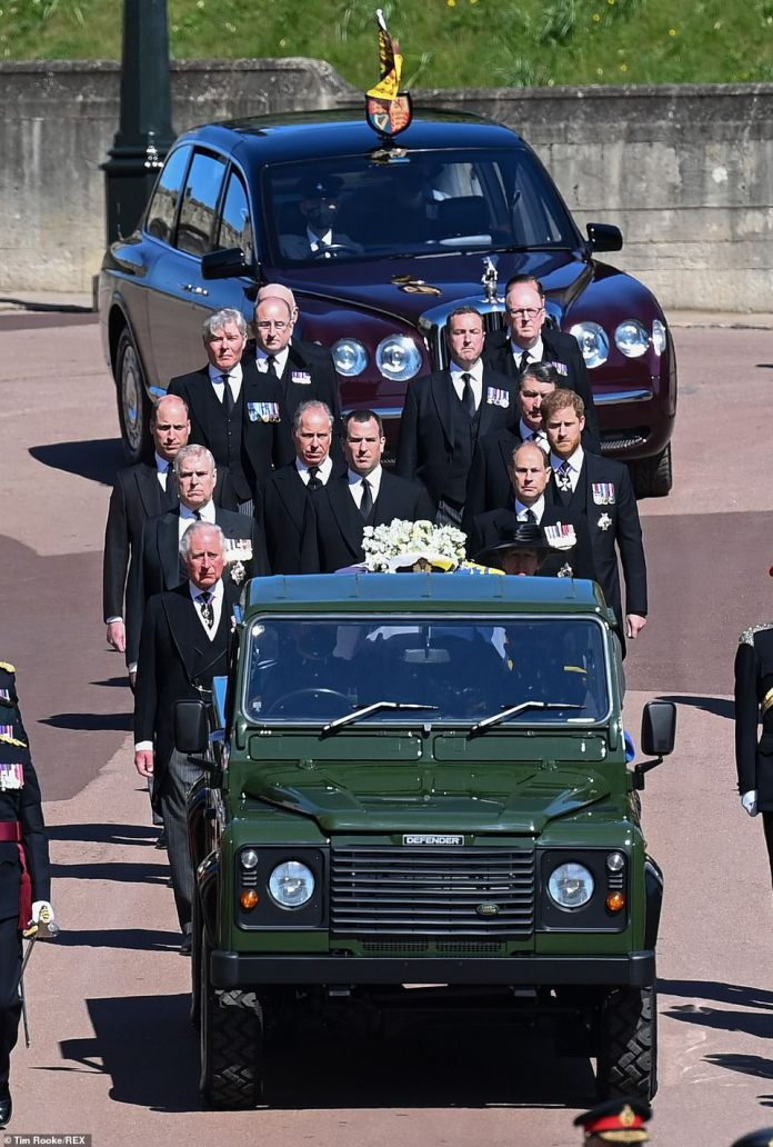 The Queen's Bentley followed the casket from the castle to the church, behind the Land Rover and its family.  The procession included Prince Andrew and Prince Edward who had regularly visited the Queen since Philip's death