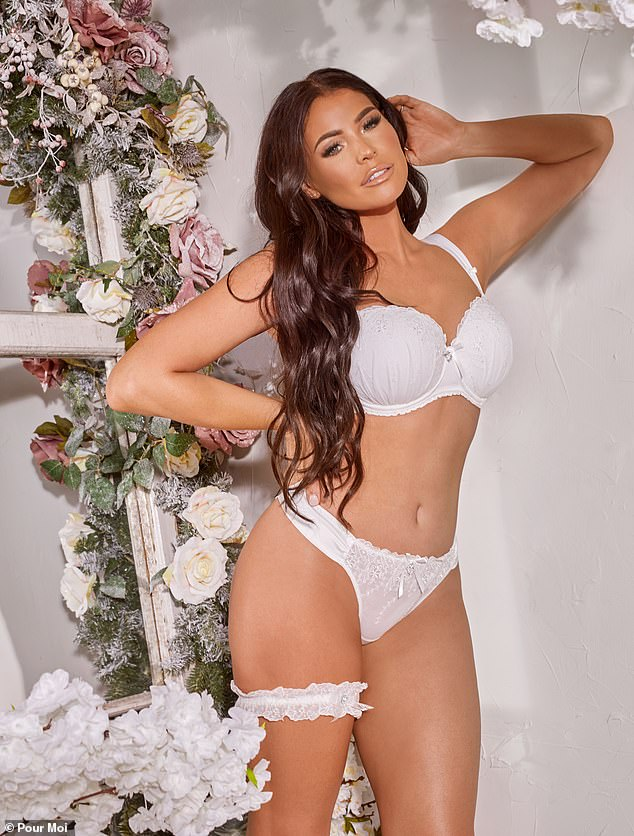 Bride-to-be: Jess Wright had a vision in white as she posed in the white lingerie she plans to wear when she marries fiance William Lee Kemp later this year