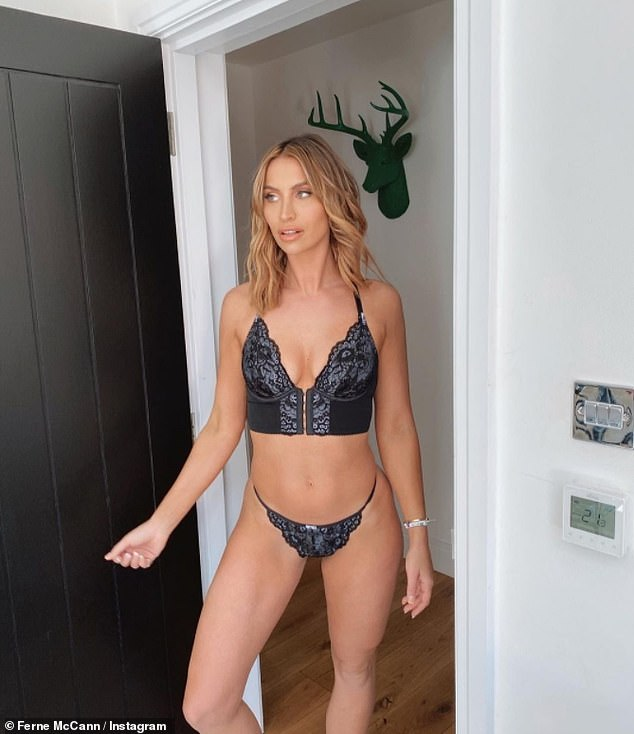 Wow: Ferne McCann, 30, proved all that time in the gym paid off on Sunday, when she posted an Instagram photo of herself modeling matching lace lingerie.