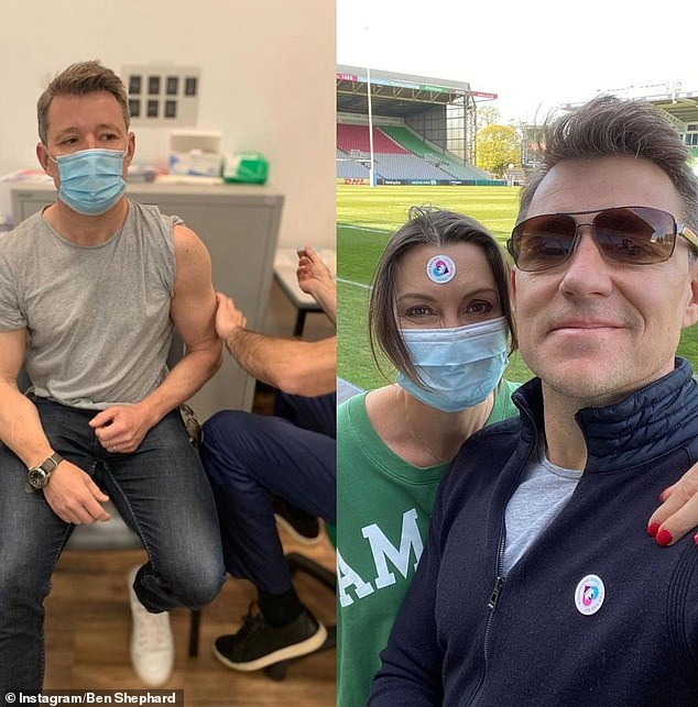 First dose: Ben Shephard showed off his bulging biceps as he received the first dose of his COVID-19 vaccine at his local rugby stadium on Sunday