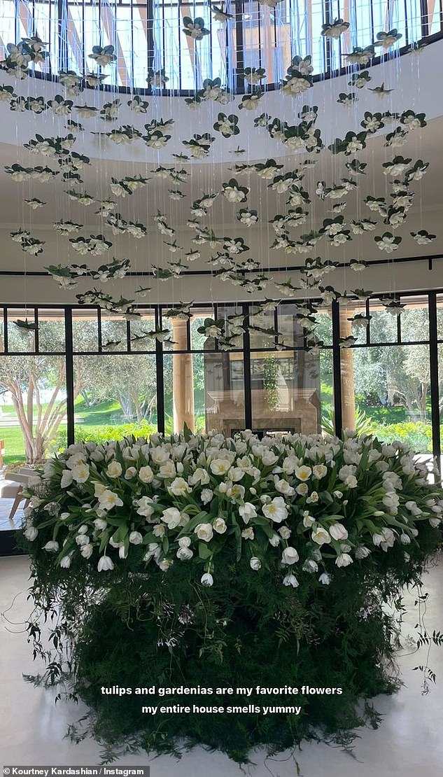 Great gift: The social media powerhouse shared a few photos of Barker's extravagant floral display to her Instagram Story, where she noted that her 'entire house smells yummy'