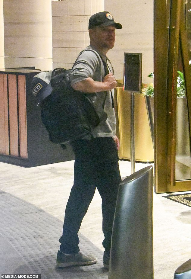 Down Under: Matt Damon (pictured) and his A-list pal Chris Hemsworth touched down in Sydney on a private jet on Sunday, after spending the weekend in Byron Bay