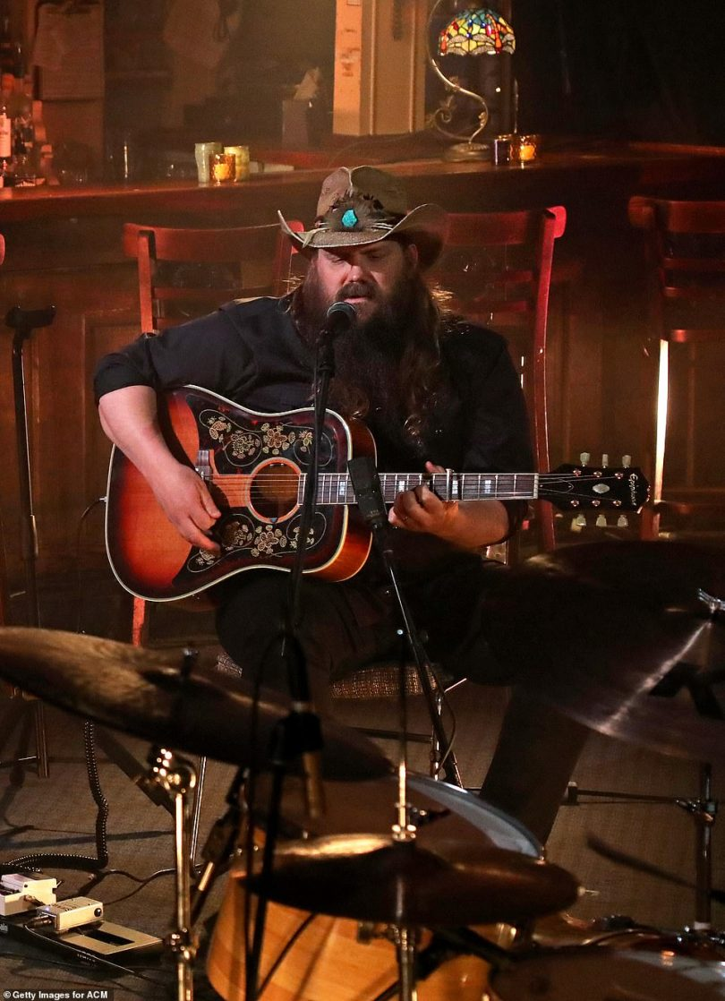 Filling in: Miranda was taking over for Stapleton's wife Morgane, who was originally going to duet on Maggie's Song, a tribute to their late dog, but she couldn't attend due to a 'prior doula commitment'