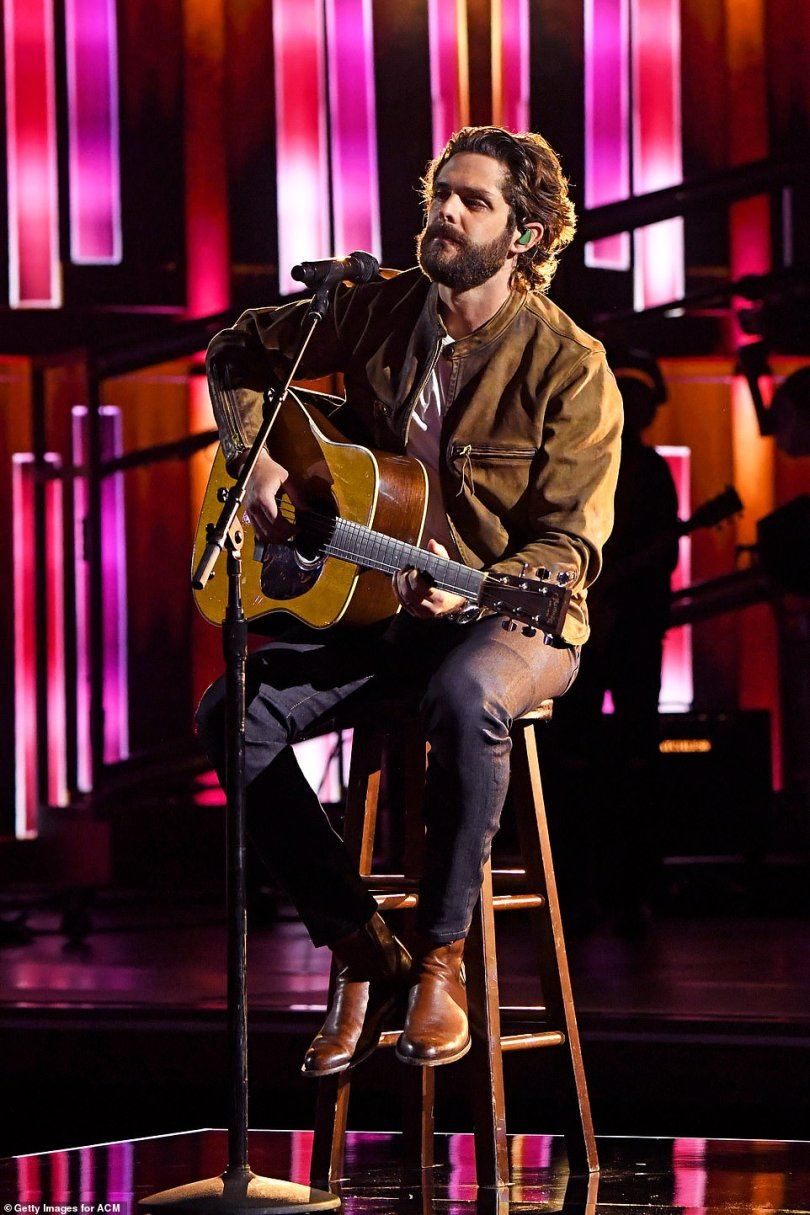 Back at it: Thomas Rhett returned for an acoustic performance of Country Again, before the full band joined in later