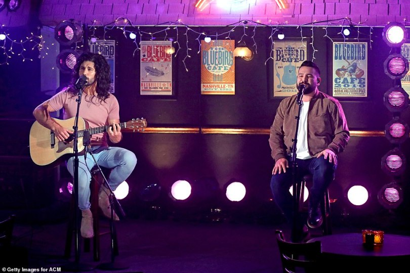 Taking their time: Back at the Bluebird Cafe, Dan + Shay slowed things down again for their sweet duet Glad You Exist