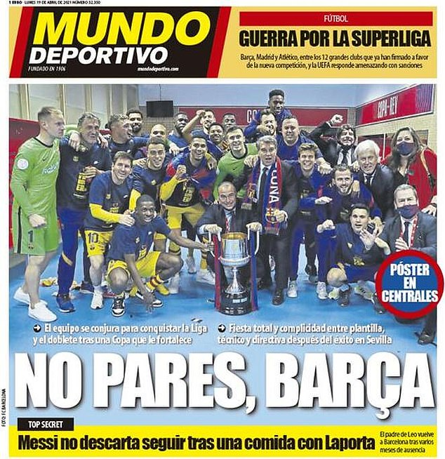 Catalan paper Mundo Deportivo focused on Barcelona's Cope del Rey win, with just a small reference to what they also described as 'the war of the Super League'