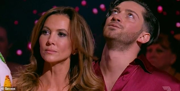 So close: On Monday's elimination round on Dancing With The Stars, Kyly Clarke scraped into the finals after racy number with her partner Gustavo Viglio. Both pictured