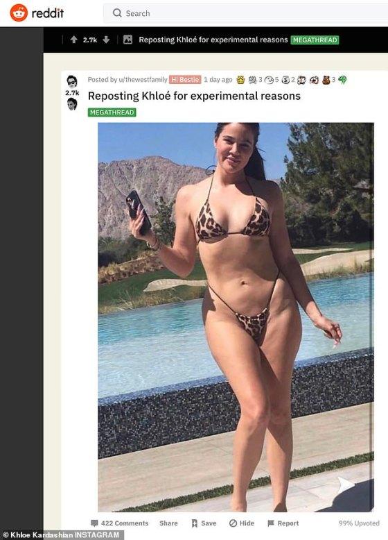 Itu terjadi setelah tim Khloe - dengan bantuan dari saudari Kim - berusaha menghapus foto Khloe yang tidak sah dan 'tidak diedit' dari Internet awal bulan ini (lihat di sini di Reddit).  Itu diposting secara tidak sengaja setelah nenek MJ mengambil foto itu