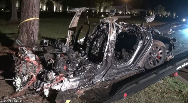 This was the aftermath of the Tesla crash on Saturday night. It took four hours for firefighters to put out the blaze while the victims' relatives watched on helplessly