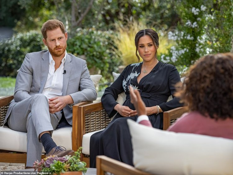 Prince Harry and Meghan Markle's (pictured during their Oprah chat) departure complicated matters by reducing the number of people available to help the monarch in high-profile roles