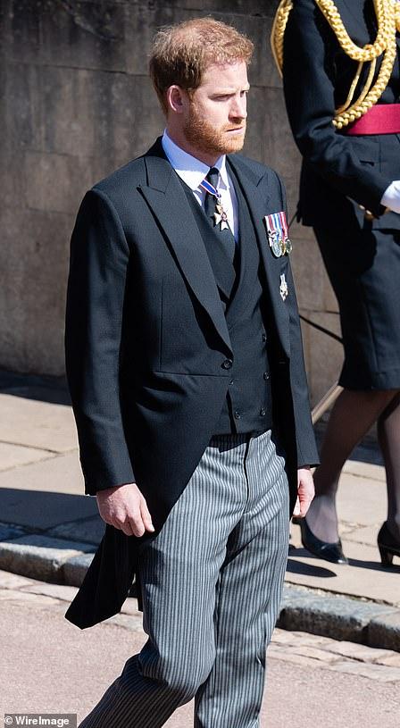 Prince Harry during the Duke of Edinburgh's funeral