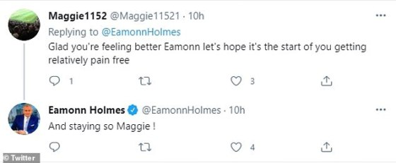 Dukungan: Eamonn menerima harapan baik dari banyak pengikutnya termasuk Sam McAllister dari BBC Newsnight yang menulis: 'Yaassss!  Sangat senang untukmu '