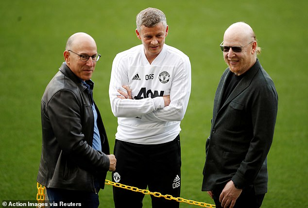 Joel Glazer (left) and Avram Glazer (right) with Ole Gunnar Solskjaer, the Manchester United manager, back in 2019