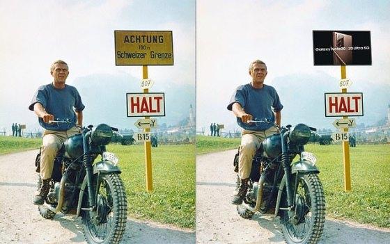 Interpretasi MailOnline tentang bagaimana sebuah adegan dari The Great Escape - dibintangi Steve McQueen sebagai Kapten Virgil Hilts - akan terlihat sebelum dan sesudah sebuah iklan untuk smartphone Samsung disisipkan secara digital