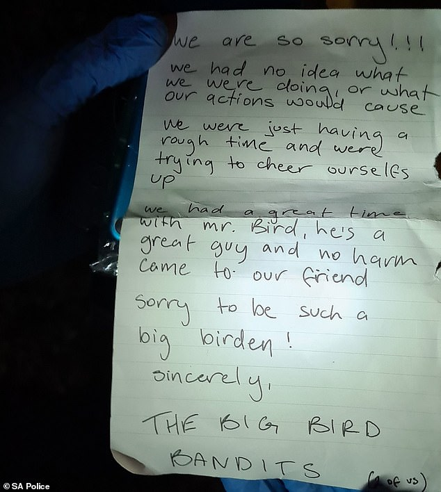 Police found a handwritten note inside the yellow bird's mouth written by its captors who apologised for the kidnapping