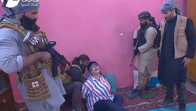 A TV show in Iraq which sparked outcry after featuring fake ISIS fighters 'kidnapping' celebrities and telling them they will be executed has been banned. In one episode, an actress in her 50s named asNessma (pictured), was blindfolded and fitted with a fake suicide vest