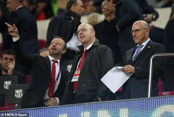 United Executive Vice President Ed Woodward (left) pictured with owners Avram Glazer and Joel Glazer in their 2019 Champions League quarter-final with Barcelona