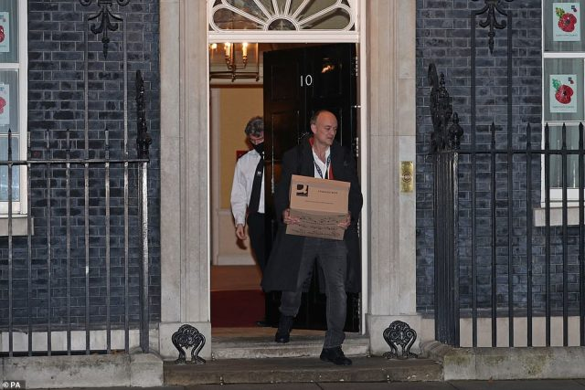 Prime Minister Boris Johnson's top aide Dominic Cummings leaves 10 Downing Street, London