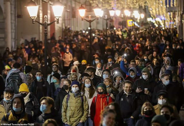 Police said 6,000 people protested illegally in Moscow, while Navalny's YouTube channel said turnout in the capital was up to 10 times higher