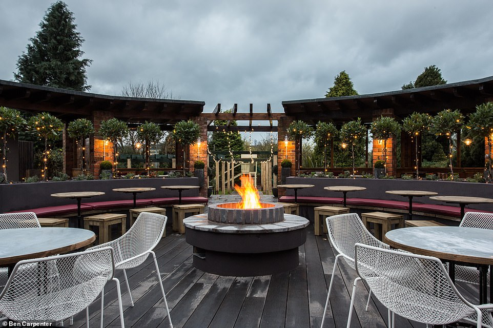 The recently renovated outside terrace that has both heated and covered areas at The Manor House of Whittington in Kinver