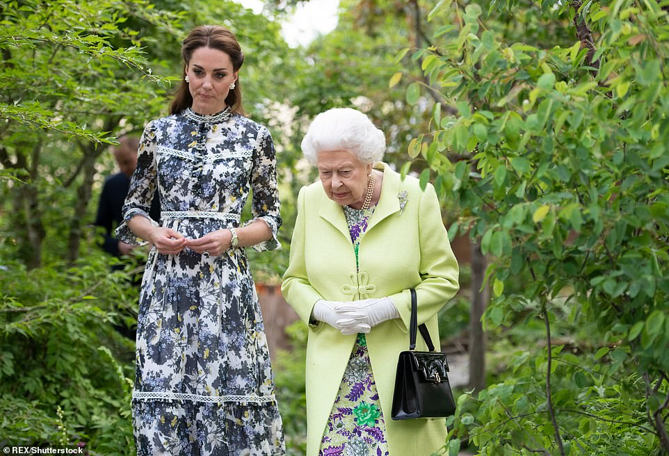 The Queen is shown around the Duchess of Cambridge's Back to Nature garden at the 2019 Chelsea Flower Show