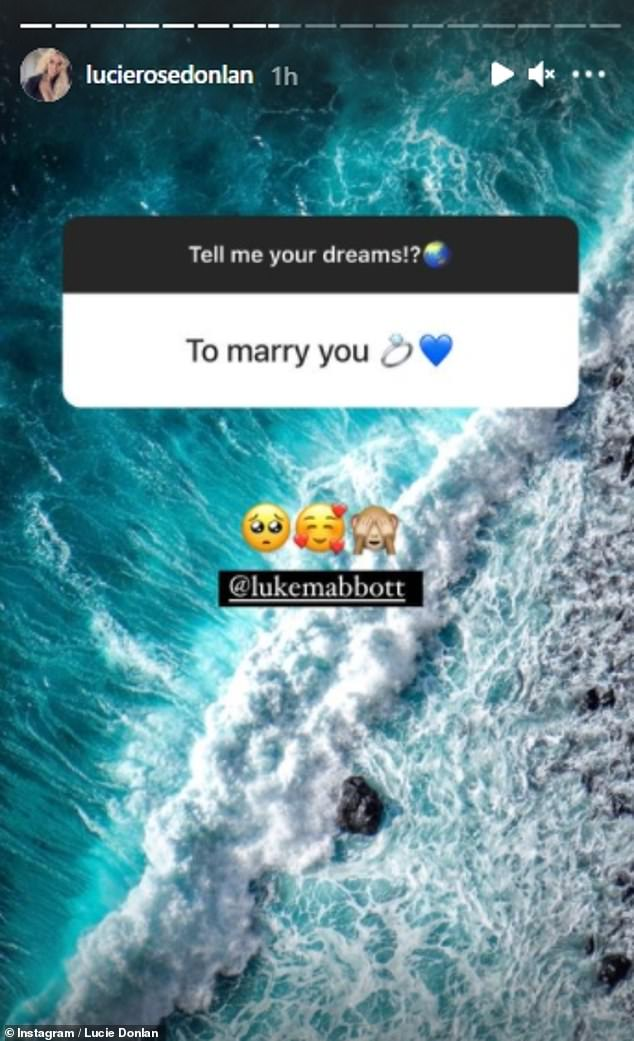 Wedding bells? Last month, the bombshell's boyfriend Luke Mabbott, 25, revealed he wanted to 'marry' her as he responded to a post on her Stories
