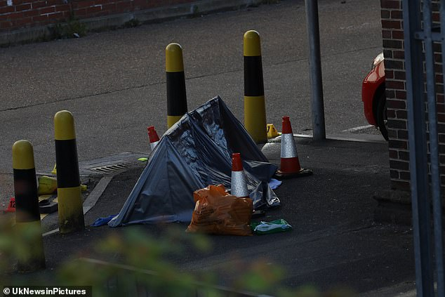 The car park has been closed although the M&S store continued trading as normal while officers swarmed the area and experts tried to establish what had happened