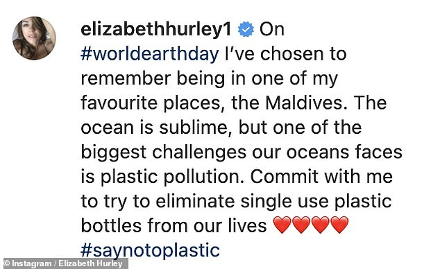 Important: Elizabeth accompanied her stunning photo with a heartfelt request to fans to 'attempt to eliminate single-use plastic bottles'